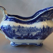 Flow Blue Bowl Non Pariel Gravy Boat Burgess & Leigh