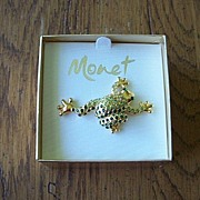 Cute Monet Rhinestone Frog Brooch