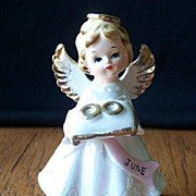 June Angel Holding Wedding Rings Figurines