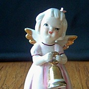 Ceramic Angel Girl Figurine Holding Bell Figurine