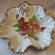 Floral Design Ceramic Dish Japan