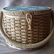 Vintage Round Sewing Basket Japan