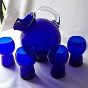 Cambridge Cobalt Blue Pitcher And Four Tumbler