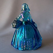 Wheaton Glass Blue Iridescent Colonial Lady Figurine