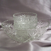 Early American Prescut Glass  Crystal Salad Bowl Set