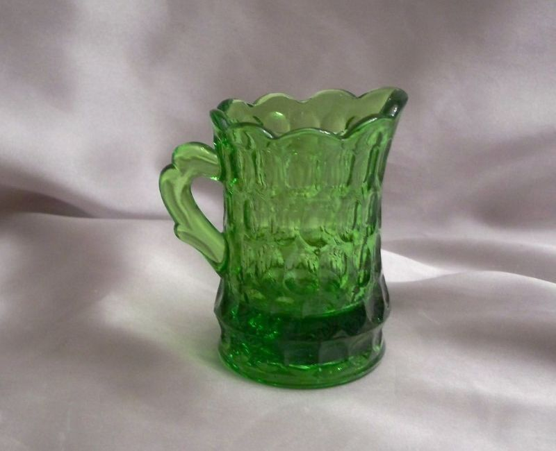 Beautiful Miniature Green Glass Pitcher