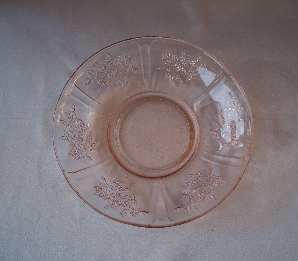 Pink Federal Glass Sharon Saucer