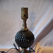 Vintage Black Glass Table Lamp