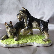 Schnauzer Dogs Playing Ceramic Figurine Japan