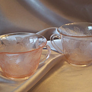 Depression Glass Pink Dogwood Thin  Sugar and Creamer