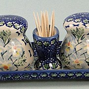 SALE Polish Stoneware Salt  Pepper Tray Set  Pottery Manufaktura