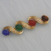 Vintage Burt Cassell Scarab Pin Gemstone Gold-Filled Brooch