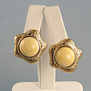 Vintage Monet Clip Earrings Cream Color Goldtone Edges