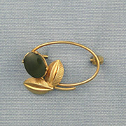 Vintage Wells Jade Oval Pin Mad Men Style