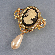 Vintage NONY Button Cover Cameo Pearl Drop