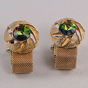 Cuff Links Rivoli Watermelon Stone Mesh Wrap-Around Style