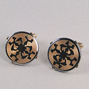 Vintage Cuff Links Abstract Design Goldtone Gray