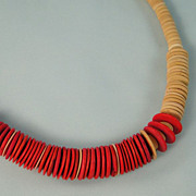 Vintage Puka Shell Necklace Tan and Red Discs