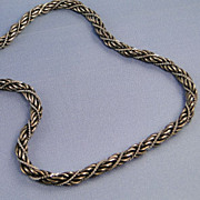Vintage Link Chain Woven Necklace Gunmetal and Silver
