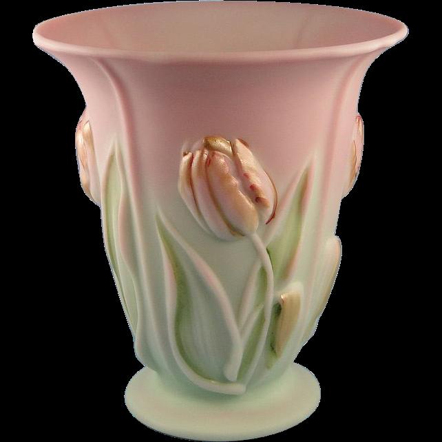 Fenton Burmese Vasefenton Burmese Vase Blue Lilac Pink Hand Painted