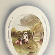 Early 1900s Embossed Meissner & Buch Postcard, Horseshoe Inset of Little Girls Having Picnic o