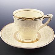 Set of Four Crown Ducal Butter Cream Florentine Demitasse Cup & Saucer, Ornately Molded Fruit