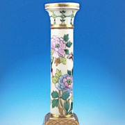 SALE Ornate Nippon Candlestick, Classical Column on Base, Multi-color Florals, Butterfly, Gold