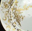 "Set of Six Ornate & Gilded John Maddock 8 3/4"" Scalloped Plate, Gold Stencil Pattern of Roses, Hollyhocks, Leafy Vines, ca. 1910"