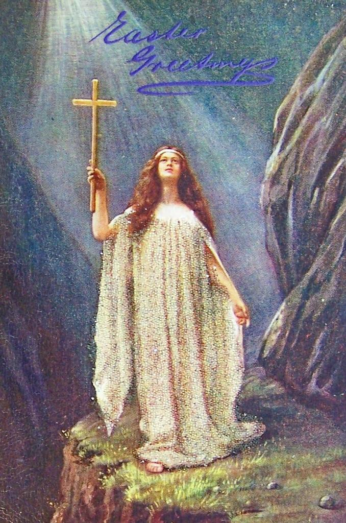 Early 1900s Tuck Oilette Postcard, Spiritual Beauty in the Light of Heaven, Crystal Glitter Gown