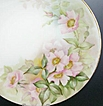 "Hand Painted T&V (Tressemann & Vogt) 9 1/4"" Plate, Pink Wild Roses, Shadow Leaves, Artist-signed, ca. 1900"