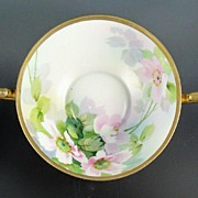 "SALE Beautiful Nippon Hand Painted Handled Deep 8 3/4"" Bowl, Pink Florals, Lavender Shado"