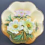 "Gorgeous PT (Tirschenreuth, Bavaria) Large 9 1/2"" Bowl, Lush White & Pink Flowers, Handpa"