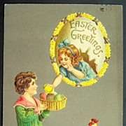 1912 Embossed A.M.B. Postcard, Boy Offers Easter Eggs to Girl in Floral Egg ...