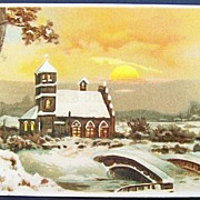 SALE Picturesque 1907 Postcard, Snow-covered Country Church under Golden Sunset, Bridge over .