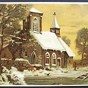 SALE ca. 1907 Postcard, Parishioners Approach Snow-covered Country Church under Golden Sunset