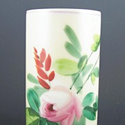 "Vintage Consolidated 6"" Milk Glass Vase, Hand Painted Pink Rose and Greenery, 1950s"