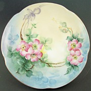 "Antique Jaeger & Co. Hand Painted 8 1/2"" Porcelain Plate, Wild Roses on 'Louise' Scallope"