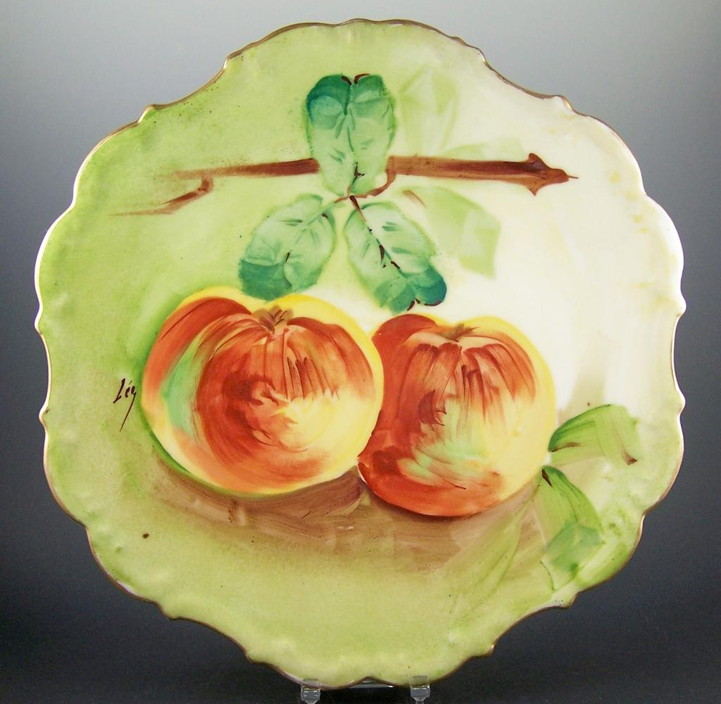 "Eye-Catching Flambeau Limoges Hand Painted 11"" Charger, Sun-Kissed Peaches, Artist Levy, 1890s-1914"