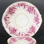 Antique Plum Transferware Staffordshire Cake Plate & Dessert Plates, English Registry Mark, 18