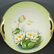 Antique Z&S (Zeh Scherzer Bavaria) Hand Painted Cake Plate, Lilies on the Pond, Studio Artist
