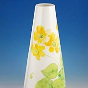 "SALE Colorful Mikasa 8 1/4"" Conical Vase, Water Lilies, 1976-79"