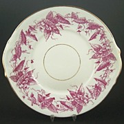 "Antique Plum Transferware Staffordshire 9 1/2"" Cake Plate, English Registry Mark, 1880"