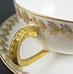 Antique Martial Redon (Limoges) Cup & Saucer, Winter White Porcelain with Gold Stencils of Laurel Leaves & Berries, 1891-1896