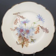 "Antique Hand Painted JPL (Pouyat, Limoges) 8 3/8"" Plate, Sky Blue Asters at Summer's End,"