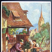 1909 Elly Frank Postcard, Little Heidi-type Girl Gives Flowers to Elderly Man, Artist Franck