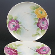 "SALE Pair of Hand Painted Japanese 5 5/8"" Saucers, Magenta Pink and Sun Yellow Roses, ear"