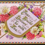 1909 Gilded Embossed Postcard, Illuminated Banner, Pink & White Chrysanthemums, Bluebells, Goo