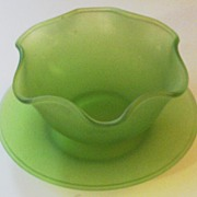 Vintage Green Satin Ruffled Bowl and Underplate