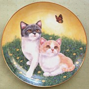 SALE Danbury Mint Collectors Plate, Alex and Amelia, Purrfect Pairs Series, Artist Robert Guzm