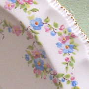 "Vintage Pope Gosser Large Scalloped China 9 1/2"" Bowl, Delicate Floral Garlands"